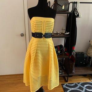 Yellow Eyelet Strapless New York & Company Dress